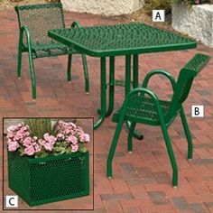 Expanded Steel Outdoor Furniture - Red by C $477.00. Mix and match tables, chairs and planters to best fit your outdoor area.