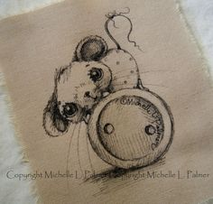 Sweet little friends find their way into my heart and I love to sketch them for you! Original pen & ink illustrations on fabric. September 2015