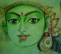Ambal-Hindu goddesses by Nithya Mural Painting, Mural Art, Figure Painting, Murals, Indian Goddess, Durga Goddess, Lord Shiva Painting, Tanjore Painting, Indian Art Paintings