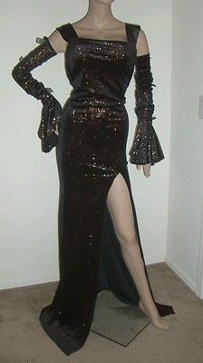 Drag Queen Size Large XL Dress Black Bronze Glitter Gown Pageant