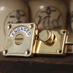 Brass Vacant Engaged Lock // A special detail for a powder room