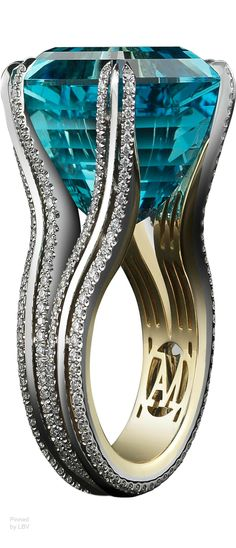 Alexandra Mor Asscher-Cut Intense Aquamarine & Diamond Ring - A very Elegant Ring