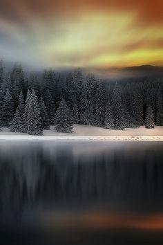 Misty mountain sunset #BeautifulNature #Reflections #NaturePhotography #Nature #Photography #Sunsets #Mountains