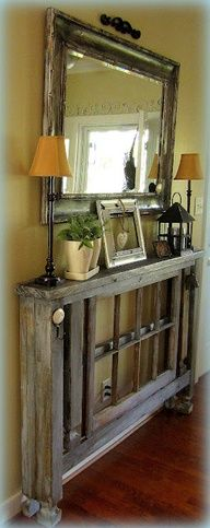 DIY Entry Table when you dont have a lot of room...(plus other awesome ideas!) This might be great for a hallway or upstairs landing too.