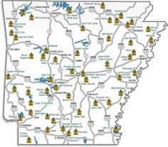 Map of the 52 Arkansas state parks.  This interactive map gives you all the information you need to know about the parks from what they have to offer to how to get there!