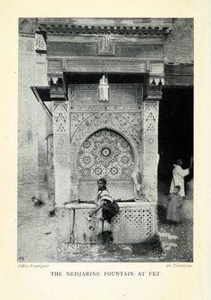 1929 Print Nejjarine Nedjarine Water Fountain Fez Fes Morocco Historic XGQ9