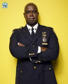 Andre Braugher as (Captain Ray Holt) Season 5 Brooklyn Nine Nine, Brooklyn 9 9, Brooklyn 99 Actors, Raymond Holt, Andre Braugher, Andy Samberg, It Cast, Suit Jacket, Guys