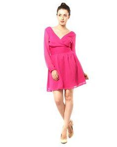 XnY Long Sleeved Waist Wrap Dress pinkDR1020011P