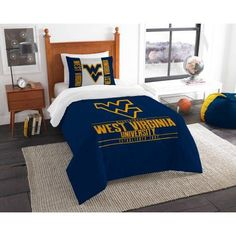 Ncaa West Virginia Mountaineers Modern Take Bedding Comforter Set, Blue