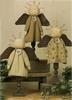 Primitive angels.....(a trio of country cuteness!)....