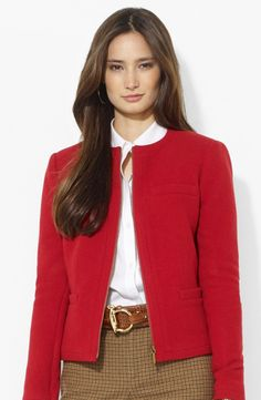 Lauren Ralph Lauren Collarless Zip Front Jacket (Petite) available at Corporate Attire Women, Business Attire, Petite Suits, Red Fashion, Fashion Outfits, Suit Jackets For Women, Ralph Lauren Jackets, Work Wear, Clothes For Women
