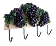 Grape Wall Decorations | Wall Decor Plaque Grape tuscany Wine Wrought Iron Hook