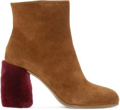 MIU MIU Tan Suede & Shearling Boots. #miumiu #shoes #boots