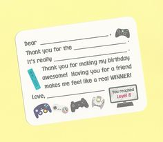 Video Game Birthday Party / Game Truck Birthday Party / Gamer Fill in the Blanks Thank You Notes - Great for Boys Birthday Thanks by CardsByKooper on Etsy