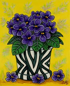 """African violets ~ clever idea, put them into an """"African"""" zebra-style vase!"""
