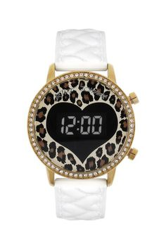 Animal Print Heart Quilted Watch