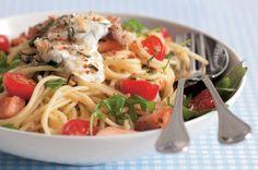 Špagety s lososem a rukolou