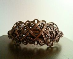 Celtic Styled Wire Wrapped Copper Bracelet by MysticMetalDesigns on Etsy