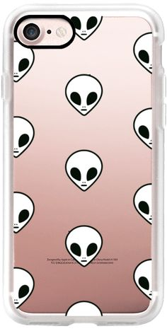 Casetify iPhone 7 Classic Grip Case - Cute Cool Funny Black White Transparent Space Alien Pattern Design by hyakume #Casetify