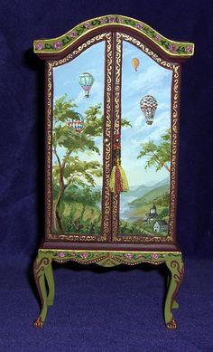 Dollhouse Miniature Hand Painted Armoire Wardrobe Furniture 1:12 OOAK L. Lassige