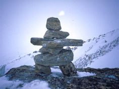 Inukshuk- a widely recognized symbol of Inuit culture, the stone markers serve a practical purpose in the barren north marking routes, camps and food caches (Meeka) Monuments, Statues, Stone Cairns, Art Rupestre, Antler Art, Mysterious Places, Worldwide Travel, Quebec City, Art Plastique
