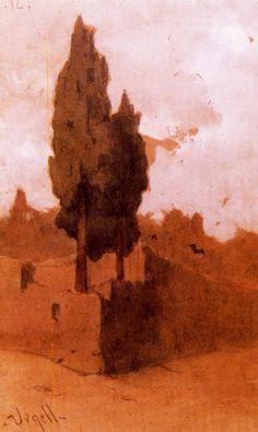 Modest Urgell Inglada (1839 - 1919). Cipreses. Dibujo sobre papel lápiz y acuarela. 23,5 x 14 cm.