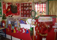 A super Santa's Workshop classroom role-play area photo contribution. Great ideas for your classroom! Holiday Themes, Christmas Themes, Kids Christmas, Christmas Crafts, Office Christmas, Christmas Decorations, Toy Workshop, Santas Workshop, Classroom Displays