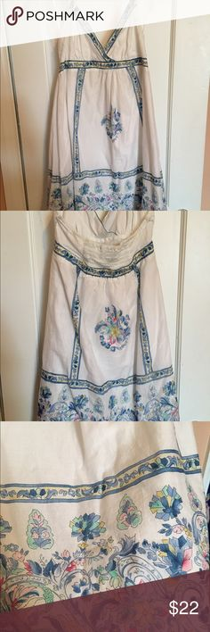 American Eagle Halter Dress Worn once. White dress with blue floral pattern. Halter style with built in slip. American Eagle Outfitters Dresses Mini
