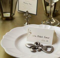 French Inspired Fleur de Lis Bottle Opener Wedding Favor #weddingfavors #fleurdelis #bottleopener #fattuesday #mardigras