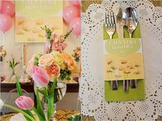Vera's Peach and Green themed party - Centerpiece Party Centerpieces, Table Decorations, Peach And Green, Color Combinations, Party Themes, Bridal Shower, Shabby Chic, Birthday, Fun
