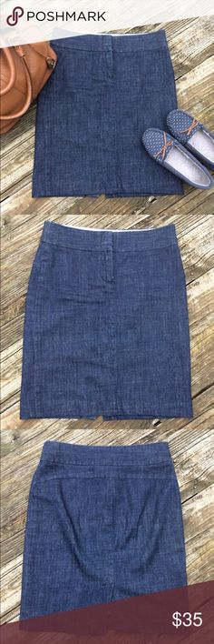 J. CREW Denim Skirt J. Crew denim skirt in excellent condition! Lots of denim skirts in my closet! Feel free to bundle for a great deal!   W 16 H 19 L 21 1/2 J. Crew Skirts