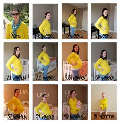 Same shirt throughout pregnancy, then take one every year with the child wearing it