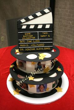 Hollywood Theme Centerpieces   ... Lights, Camera, Action for this Hollywood Nights Theme Sweet 16 Cake