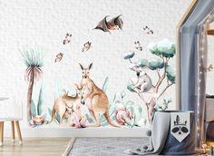 Kids Room Wall Decals, Wall Decal Sticker, Room Stickers, Australian Nursery, Australian Animals, Wall Stickers Woodland, Watercolor Walls, Cleaning Walls, Objects
