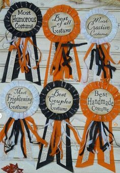 new Halloween Party Badges E Pattern- Pins doll jewelry costume ribbon star altered art primitive party. $7.99, via Etsy.