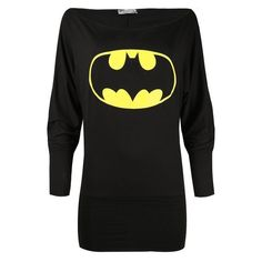 Womens Ladies Superman Batman Off Shoulder Slouch Dress Comic Hero... (14 CAD) ❤ liked on Polyvore