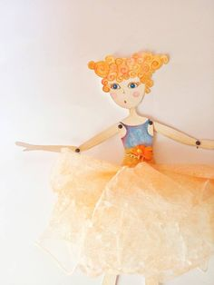 Peach dress Paper doll, romantic novel paper wedding decor, ethereal dressed paper dancer, apricot gift for ballerinas, delicate pastel doll