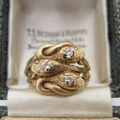 Loving all the new arrivals from especially this triple… Snake Jewelry, Gold Jewelry, Jewelry Accessories, Fine Jewelry, Jewelry Design, Jewlery, Jewelry Box, Antique Rings, Antique Jewelry