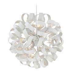 Quoizel Ribbons White Lustre Pendant Light   RBN2831W   Destination Lighting