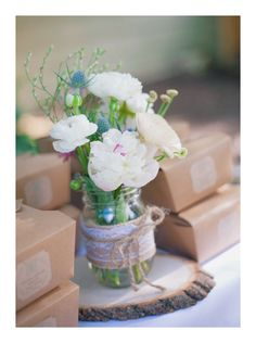 Rustic Baby Shower Floral Centerpiece