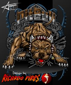 Pitbull Designs by atomiczoneusa Pitbull Drawing, Badass Movie, Badass Drawings, Giant Animals, Scary Dogs, Bulldog Mascot, Comic Book Girl, Pitbull Pictures, Sketch Tattoo Design