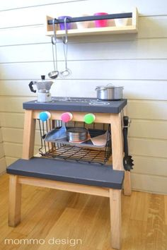 """17 DIY Projects That Will Make You Say """"Why Didn't I Think of That?"""" - Turn a stool into a play kitchen"""
