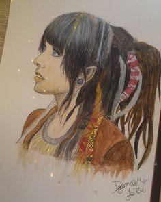 Learning with aqua-pastels...  Dreadlock girl, dreadlocks, dreads, girl, drawing, pastels, watercolors, aquapastels