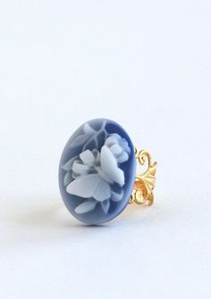 Blue Butterfly Ring, Blue and White, Gold Adjustable Ring