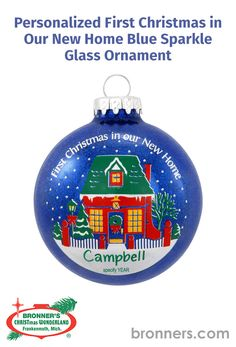 Personalized First Christmas In Our New Home Blue Sparkle Glass Ornament from Bronner's Christmas store of Christmas ornaments and Christmas lights Blue Sparkles, Blue Glitter, Christmas Store, First Christmas, Glass Christmas Ornaments, Christmas Lights, White Picket Fence, New Homeowner, Personalized Ornaments