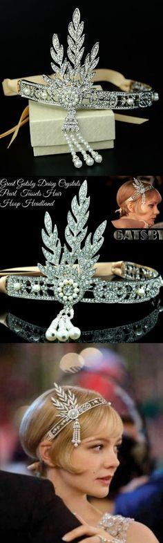 Great Gatsby Daisy Crystals Pearl Tassels Hair Hoop Headband! Click The Image To Buy It Now or Tag Someone You Want To Buy This For.  #GreatGatsby