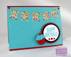 By: Kendra Wietstock for Crafter's Companion. Die'sire Classique Dies - Pennant Bunting Die'sire Essentials - Circles, Scallop Circles  Bebunni Dies - Cupcake Vintage Floral Sentimentals Greetings Stamp Set.  @CraftersCompUS