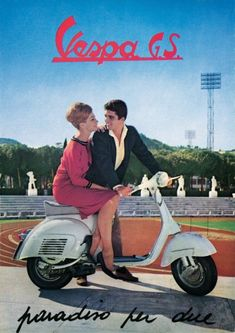 Vespa is an Italian brand of scooter manufactured by Piaggio. The name means wasp in Italian. The Vespa has evolved from a single model mo. Piaggio Vespa, Vespa Scooters, Motos Vespa, Moto Scooter, Lambretta, Vespa Vintage, Motos Vintage, Vintage Ads, Design Vintage