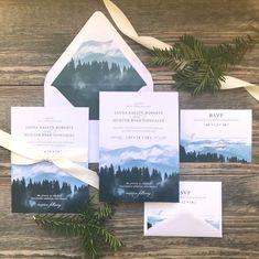 Mountain Trees Landscape Wedding Invitation Set – Rustic and Elegant – SKU: 104 Mountain Wedding Invitations, Printable Wedding Invitations, Wedding Invitation Wording, Invitation Design, Invitation Ideas, Wedding Stationery, Invitation Cards, Invites, Lodge Wedding