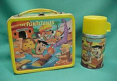 The Flintstones Vintage Lunch Box & Thermos  (1964 Aladdin, Hanna Barbera, Antique Metal Lunchbox)